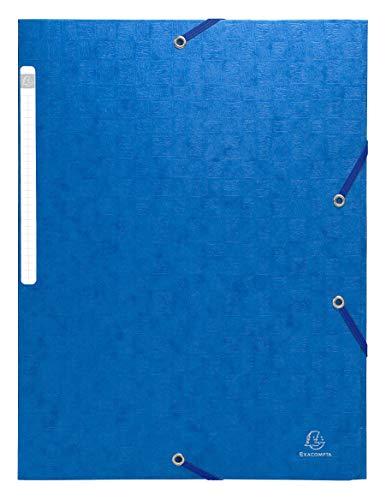 Exacompta - Réf. 55752E - 1 Chemises à élastiques carte lustrée 3 rabats monobloc - Bleu