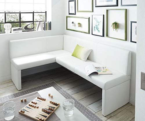 Generisch Eckbank Kunstleder Esszimmerbank Sitzbank Sitzecke Küchen-Bank (140x200, weiß)