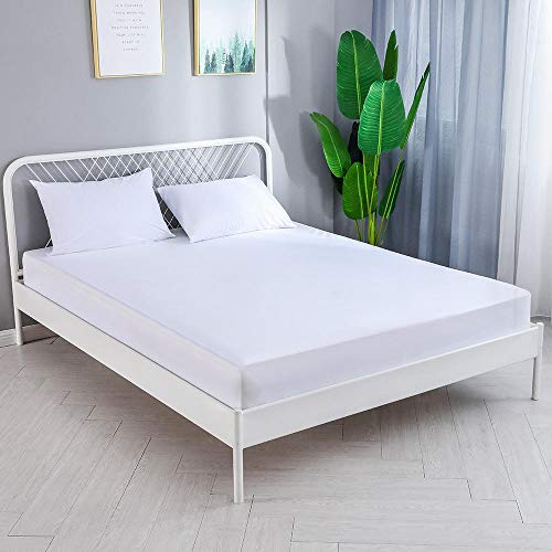 GTWOZNB Microfibre Flat Sheet - Luxurious No-Iron Bed Sheet is Breathable, Waterproof bedspread hotel-135 * 190cm_white