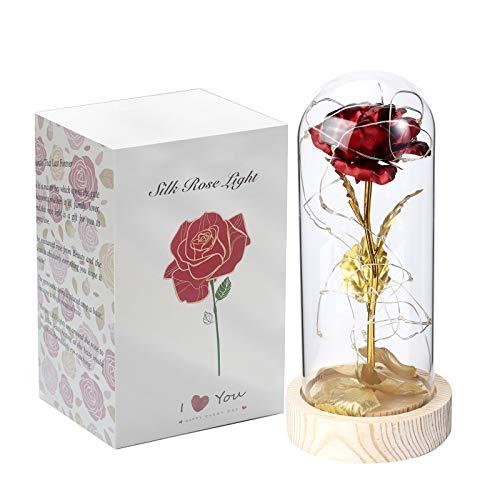La Bella e la Bestia Rosa, rosa incantata di seta rossa con luce a LED in Vetro per decorazione della casa, Regali per le donne mamma in occasione del compleanno di San Valentino anniversario