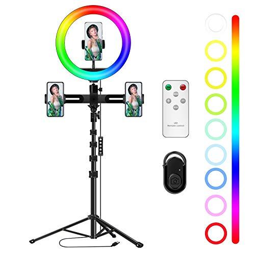 Aro de luz 10'' LED Trípode, Orthland RGB Colores Regulable Anillo de luz, 3 Soportes para Teléfono Móvil, 170 Bombillas 3 Modos 12Brillos, aro luz tripode, para Fotografía Maquillaje Selfie TIK Tok