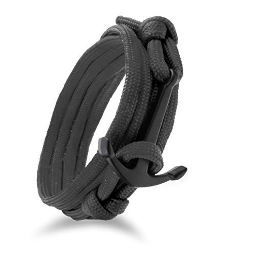 Design in Leather maritimes Anker Paracord Nylon Armband Kollektion raue See 1.0' Wickelarmband Segeltau inkl. Geschenktasche (Schwarz/Schwarz)