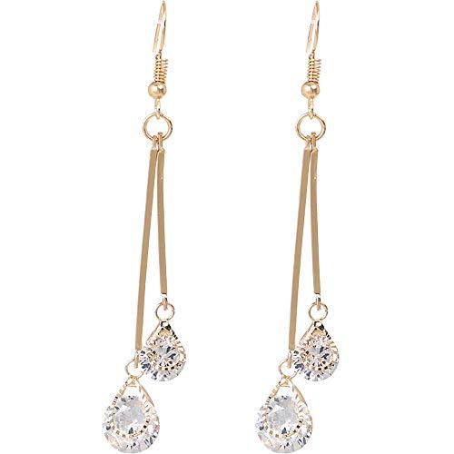 Minshao - Pendientes largos de aleación de diamantes de imitación para mujer, diseño de gota de circonita dorado dorado Talla:7.5cm