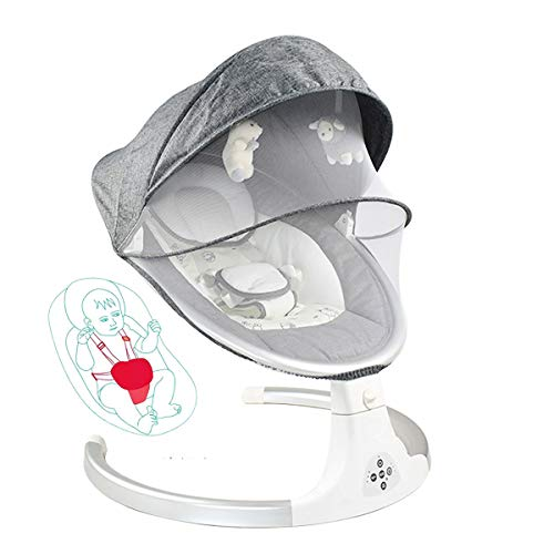 MOZX Bluetooth Elektrische Babyschaukel, Baby Schaukelstuhl Mit 5 Schwingungsamplituden & 3 Timing, Babywippe Mit Musik Und Fernbedienung, Babywippe Für Neugeborene 0-12 Monaten,Grau