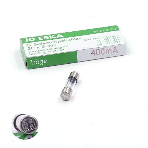 10x Sicherung Glas selbstschließend 400mA/250VAC 5x 20mm