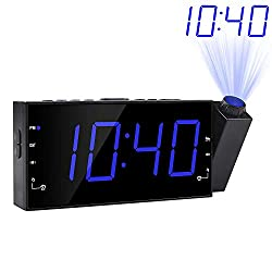 "Projection Alarm Clock, FM Radio Ceiling Wall Clock, 7""LED Digital Desk/Shelf Clock with Dimmer, 12/24 H, USB Charging Port, Battery Backup for Bedroom Kitchen Table Kids"
