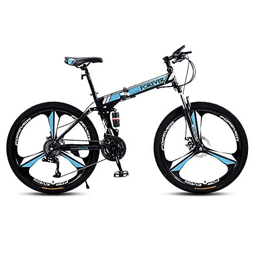 VIY Bicicleta de montaña Plegable para Hombres y Mujeres Adultos Bicicleta de Deporte de montaña con 21 etapas de Cambio de Velocidad,Azul