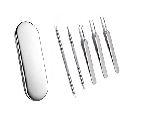 1 Set(5pcs) Stainless Steel Professional Cell Clamp Blackhead Remover Kit Acne Treatment for Fat Granule Comedone Pimple Extractor Nose Face Skin with Metal Case for Cystic Zit Blemish Whitehead
