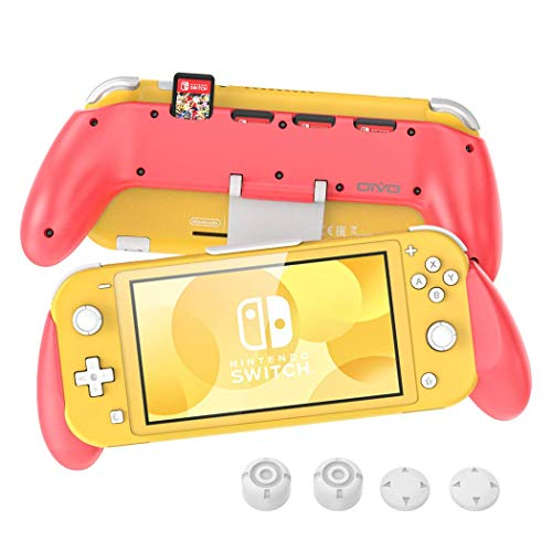 Grip for Nintendo Switch Lite, OIVO Pink Grip with Adjustable Stand and 5 Game Slots for Nintendo Switch Lite- 4 Thump Caps Included