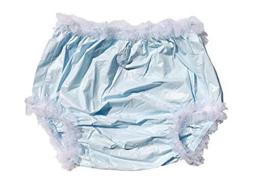 Haian Culotte d'incontinence en plastique pour adulte Bleu clair avec dentelle blanche