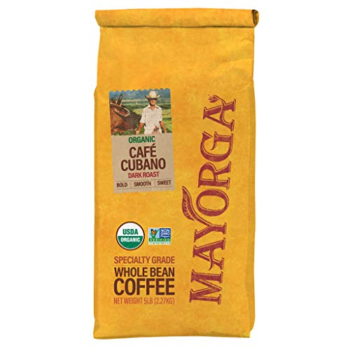 Mayorga Organics Café Cubano, 5lb bag, Dark Roast Whole Bean Coffee, Specialty-Grade, USDA Organic, Non-GMO Verified, Direct Trade, Kosher