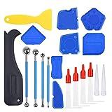 Juego de herramientas de sellado de silicona, 23 piezas, eliminador de silicona, herramienta de sellado para todos los cuartos de baño, cocina o suelo