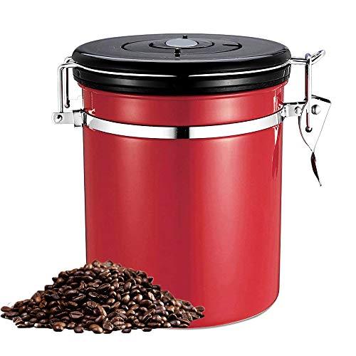 BETTERLE Kaffeedose Edelstahl, Kaffeebehälter Luftdichte Vorratsdose Edelstahldose Vakuum Dose für Kaffeebohnen, Pulver, Tee, Kakao (Red)