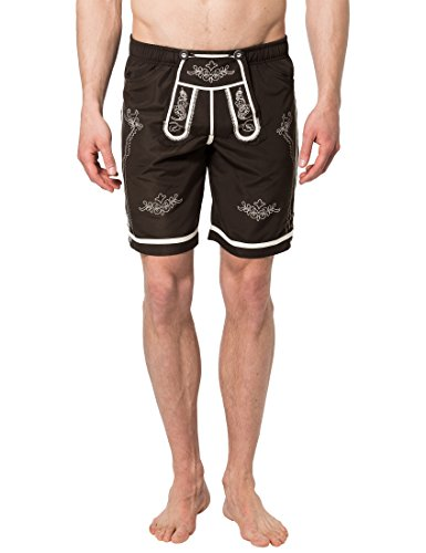 Lower East Herren Badeshorts in Trachten-Lederhosen-Stil, Gr. Small, Braun