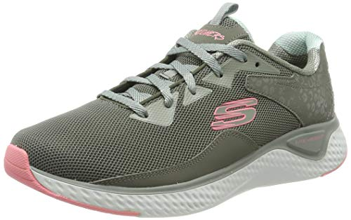 Skechers Women's Solar Fuse Trainers, Green (Olive Leather/Mesh/Lt Pink Trim Old), 8 (41 EU)