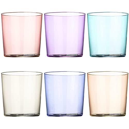 UNISHOP Set de 6 Vasos de Agua Multicolor, Vasos de Cristal Lisos y de Colores, Aptos para Lavavajillas