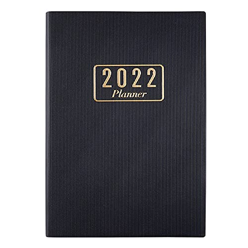 """2022 Notebook Planner,Calendar Journal,Daily Weekly Monthly Schedule Organizer,5.8""""×8.6""""-A5,Faux Leather Hardcover,Strong Twin-Wire Binding with Premium Paper.Perfect for School,Office & Home. (BLACK)"""