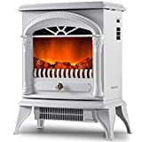 Portable Electric Fireplace Stove Freestanding Fireplace Heating Stove Indoor Heater with Log Burner Flame 1850W