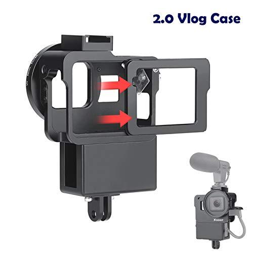 D&F 2.0 Vlogging-Gehäuse CNC-Gehäuse aus Aluminium für Schutzgehäuse mit Mikrofon Kalter Schuh für GoPro Hero 7 Black / 6/5 (2018) Video Vlog Creator Setup