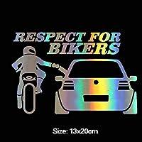 Shaoyong バイカーのオートバイカーステッカーカーステッカー、レーザーステッカー車ステッカーオートバイのライダーのための尊重 (Color : 4)