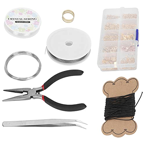 Kit de fabricación de joyas Kit de suministros de fabricación de pendientes Kit de herramientas de fabricación de joyas Artesanía de pendientes(oro)