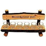 Schnapsbank mit Gravur - Name oder Spruch - aus Holz mit 6 Schnapsgläser in Bierkrug Optik,...