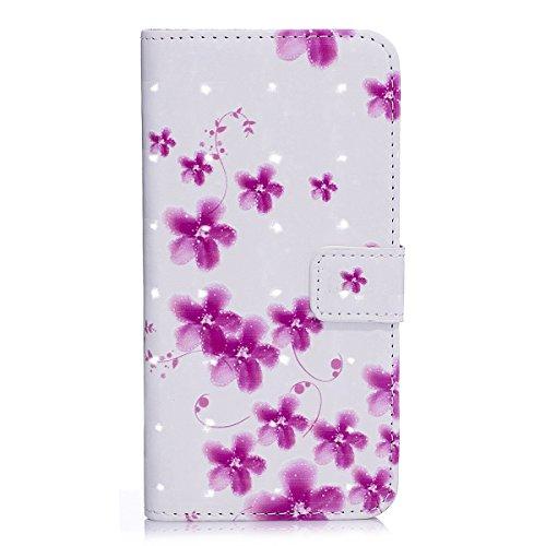 ISAKEN Kompatibel mit Galaxy S5 Hülle, PU Leder Brieftasche Ledertasche Handyhülle Tasche Hülle Schutzhülle Hülle Etui mit Standfunktion Karte Halter für Samsung Galaxy S5 Neo - Lila Blumen