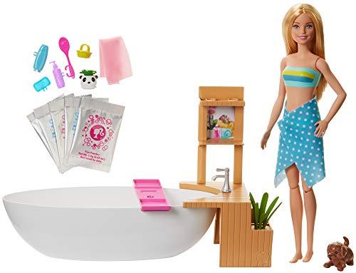 Barbie GJN32 - Wellness Sprudelbad Puppe (blond) und Spielset, mit Badewanne, Hündchen und weiteren Zuebhörteilen, Spielzeug ab 3 Jahren