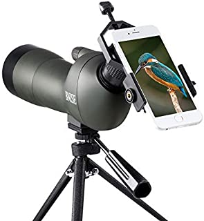 BNISE Spotting Scope for Bird Watching and Hunting, FMC Optics, 20-60x60 Zoom Monocular Waterproof Telescope, with Tripod and Case, Camera and Phone Adapter - Angled