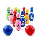 子供用スポーツ教育ボウリングセット 木製の子供のボーリングのおもちゃは子供のための屋内と屋外のボウリングゲームは、適切な設定開発の初期スポーツ/幼稚園(10本のピンおよび2つのボウリングボール) プラスチックボウリングセット (色 : As picture, Size : 12*4cm)