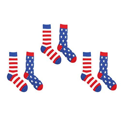 KESYOO 3 Pares de Calcetines de La Bandera Americana Calcetines Deportivos Deportivos para La Tripulación Calcetines hasta La Mitad de La Pantorrilla Calcetines Deportivos con Cojín para