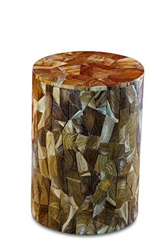 Kinaree Wurzelholz Beistelltisch KUI Buri aus Teakholz Stücken, geeignet als Podest, Blumenständer oder Nachttisch für Wohnzimmer, Flur, Diele, Schlafzimmer oder auch Wintergarten