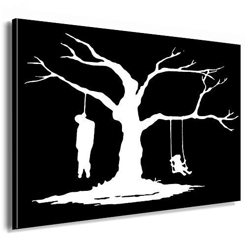 Fotoleinwand24 - Banksy Graffiti Art Sucide Tree / AA0129 / Bild auf Keilrahmen/Weiß / 120x80 cm