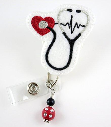 Stethoscope with Red Heart- Nurse Badge Reel - Retractable ID Badge Holder - Nurse Badge - Badge Clip - Badge Reels - Pediatric - RN - Name Badge Holder