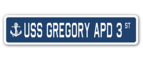 Preisvergleich Produktbild USS Gregory APD 3 Street Sign Navy Schiff Veteran Sailor vet USN Geschenk