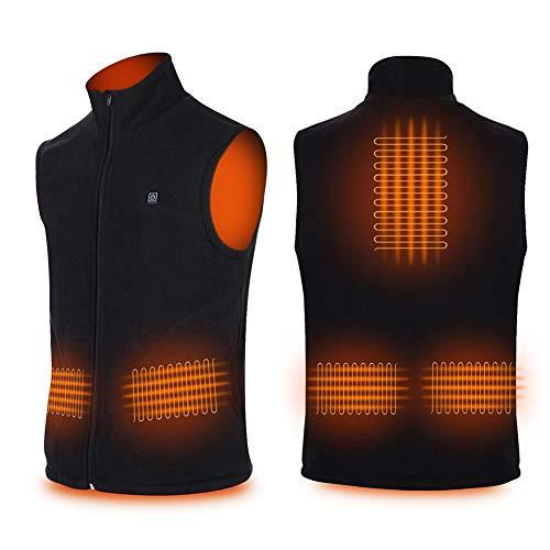YiSheng Heated Vest Polar Fleece Lightweight Heated Waistcoat with Battery Pack for Men and Women (Unisex) Black