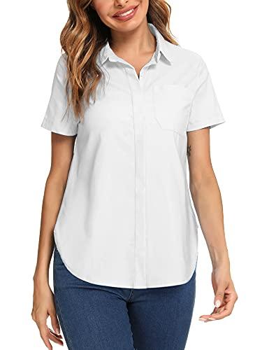 Irevial Blusas Verano Mujer Trabajo Camiseta Manga Corta Elegante Camisa con Bolsillo Shirt Basic para Oficina Blanco, M