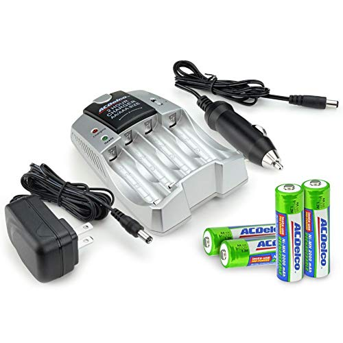ACDelco 2-Hour Fast Battery Charger, Includes 4 AA Rechargeable Batteries and Car Adapter