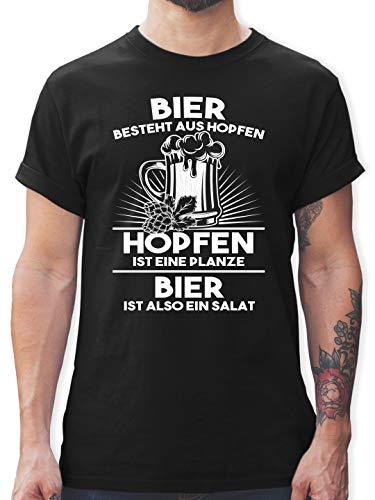 Sprüche - Hopfen ist eine Pflanze Bier ist Salat - S - Schwarz - Tshirt Salat - L190 - Tshirt Herren und Männer T-Shirts