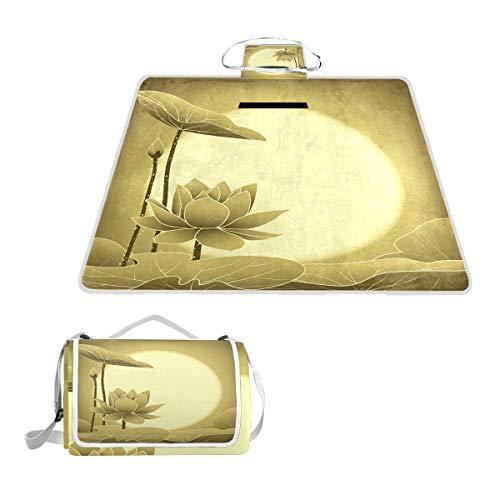 TIZORAX Couverture de Pique-Nique Oriental mi-Automne Motif Fleur de Lotus imperméable et Pliable pour la Plage, Le Camping, la randonnée