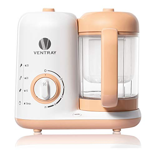 Ventray BabyGrow 300 Baby Food Maker, All-in-one Baby Food Processor, Blender, Steamer, Cooker, Chop, Grind, Puree, Quick, Easy Clean,BPA-Free,Peach