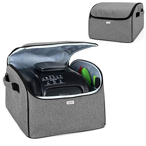 Luxja Schutzhülle für Elektrische Tischgrill, Abdeckhaube Kompatibel mit Ninja Foodi Grill und Luftfritteuse, Ninja Grillplatte Aufbewahrung Tasche zum Transport, Grau
