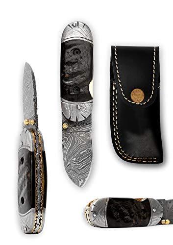 Perkin Knives Klappmesser/Taschenmesser mit Damastklinge, Griff aus Bockhorn