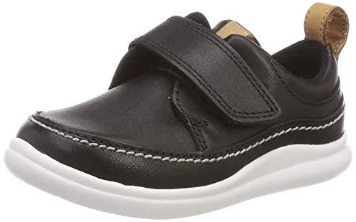 Clarks Cloud Ember T, Sneakers Basses Garçon, Noir (Black Leather-), 21 EU