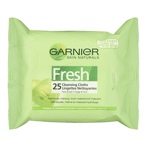 Garnier Skin Naturals Fresh Vitamin-Enriched Cleansing Cloth for Normal and Combination Skin. Waterproof Makeup Remover, 25-Count