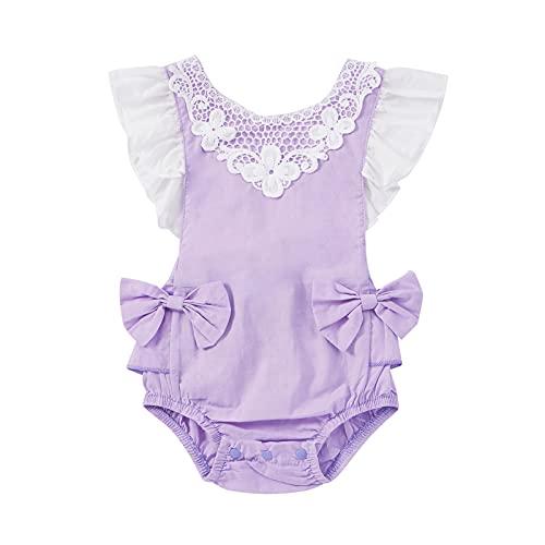 Baby Girls Romper Clothes Infant Ruffle Lace Bodysuit Solid Color Onesie Jumpsuit (Purple, 0-3 Months)
