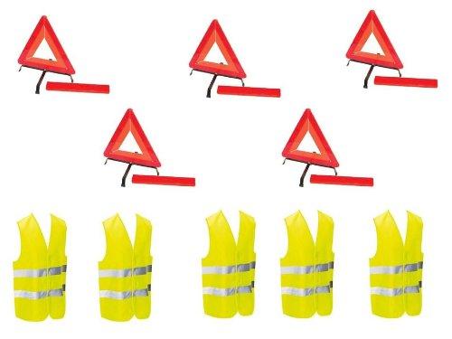 Kit auto sécurite : 5 triangles de signalisation + 5 gilets jaunes EN471