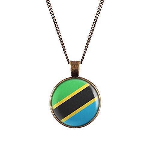 WeAreAwesome Tansania Flagge Halskette - Länderkette mit Fahne Anhänger Unisex Kette Afrika