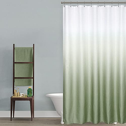 Sage Green Shower Curtains for Bathroom Ombre Waterproof Textured Faric Shower Curtain Sets with Hooks Machine Washable 70 x 72 inch Long