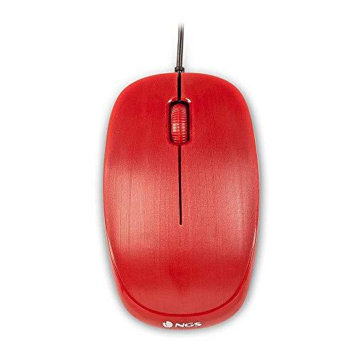 NGS FLAME RED - Mouse Ottico 1000dpi con Cavo USB, Mouse per Computer o Laptop con 3 Pulsanti, Ambidestro, Rosso